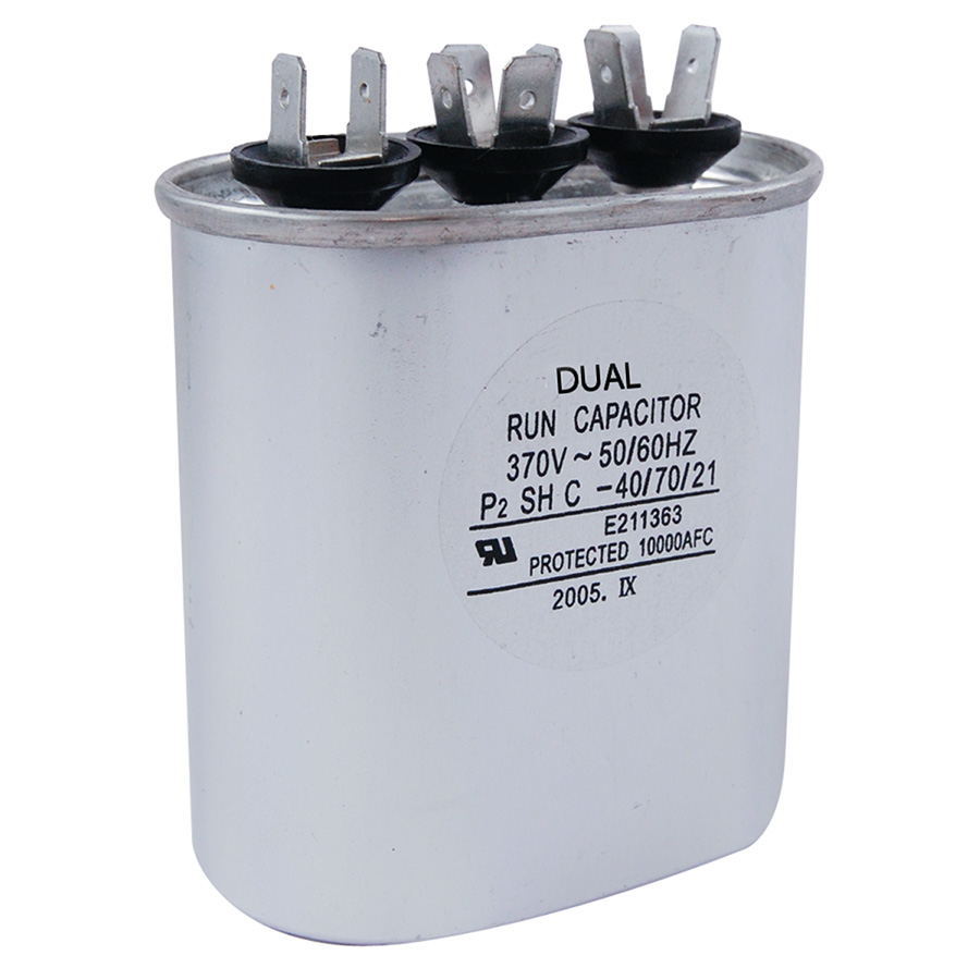 370V Oval Dual Capacitor 30/5 MFD