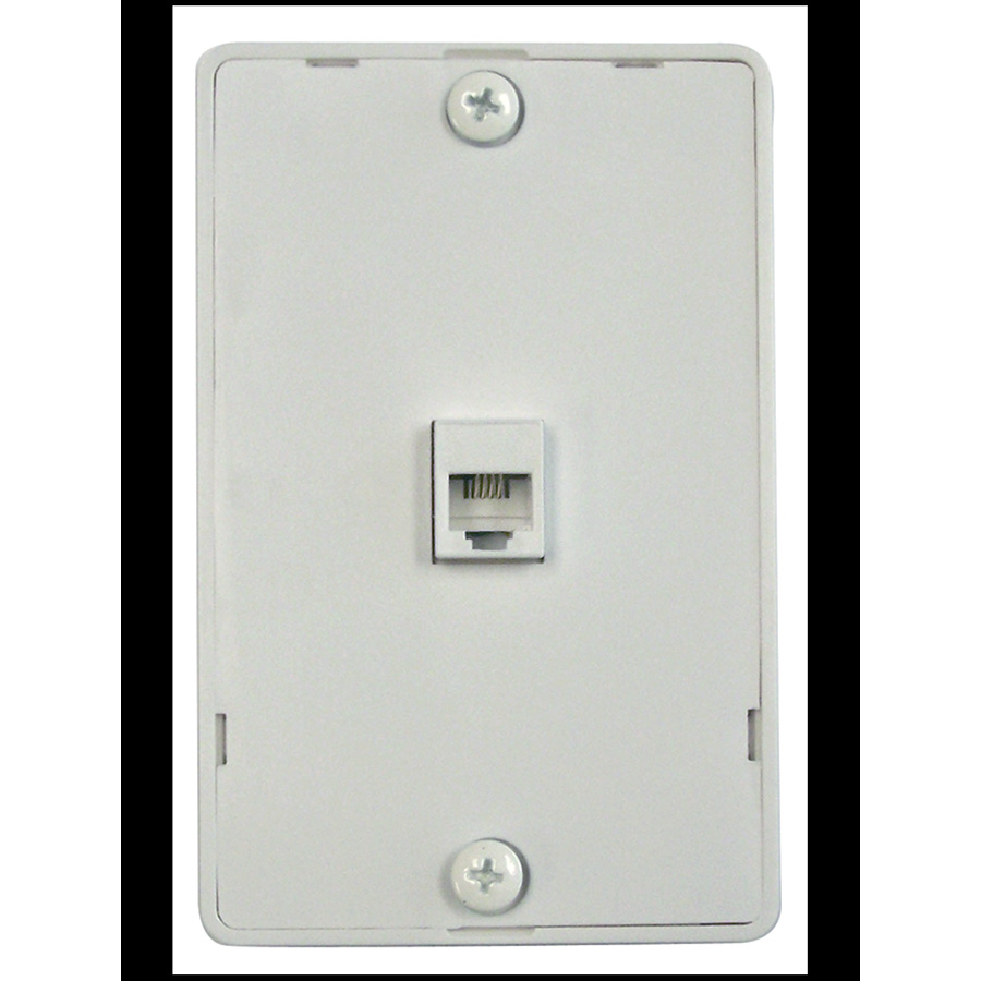 Black Point Surface Mount Phone Jack Wall Plate White