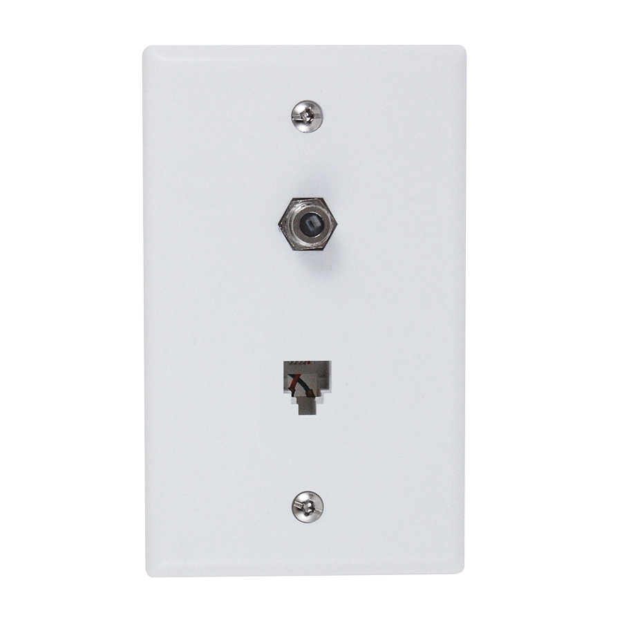 Black Point Combination Phone/Cable TV Plate White