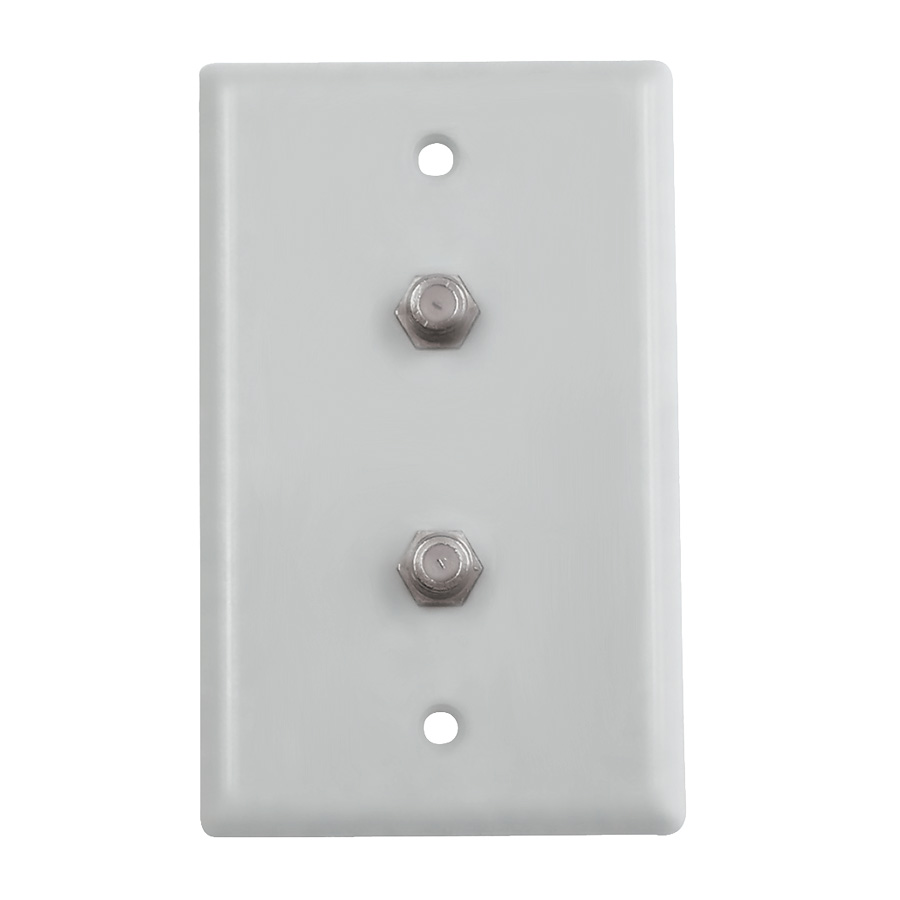 Black Point Dual TV/Cable Wall Plate White