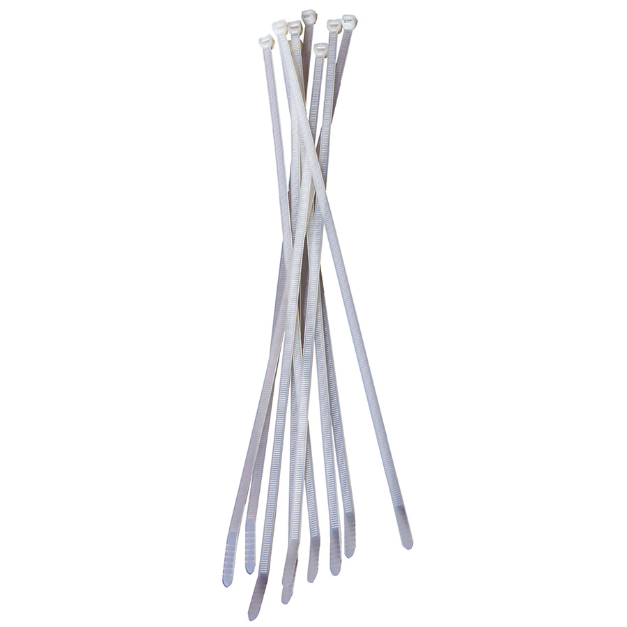 """Black Point White Cable Ties 14"""" — Pack of 50"""