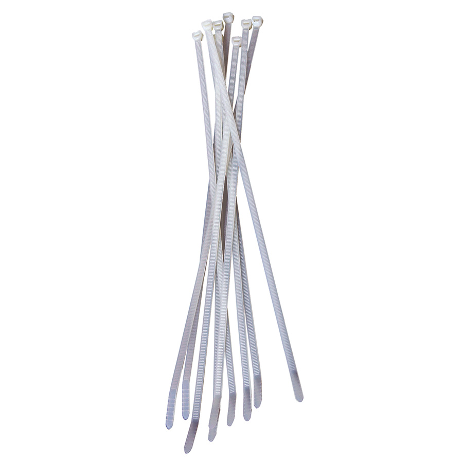 "Black Point White Cable Ties 36"" — Pack of 25"