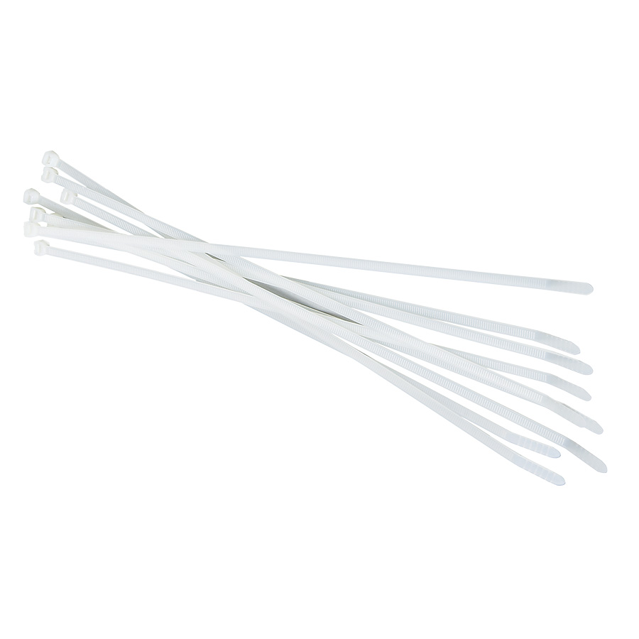 """Black Point White Cable Ties 7-1/2"""" — Pack of 100"""