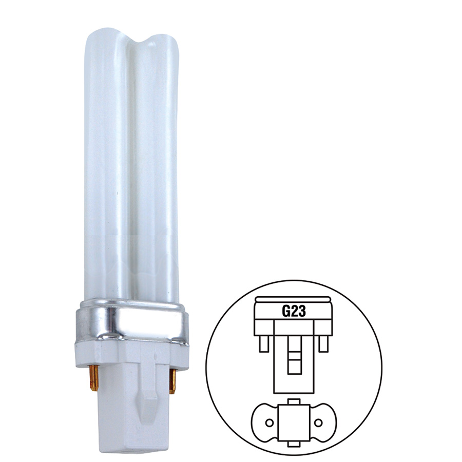 9W Twin CFL Bulb G23 Base 4100K