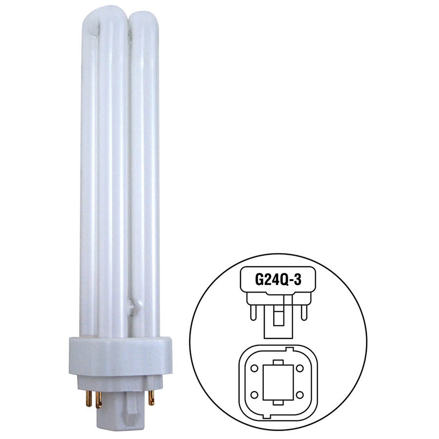 26W Quad CFL Bulb G24d-3 Base 2700K