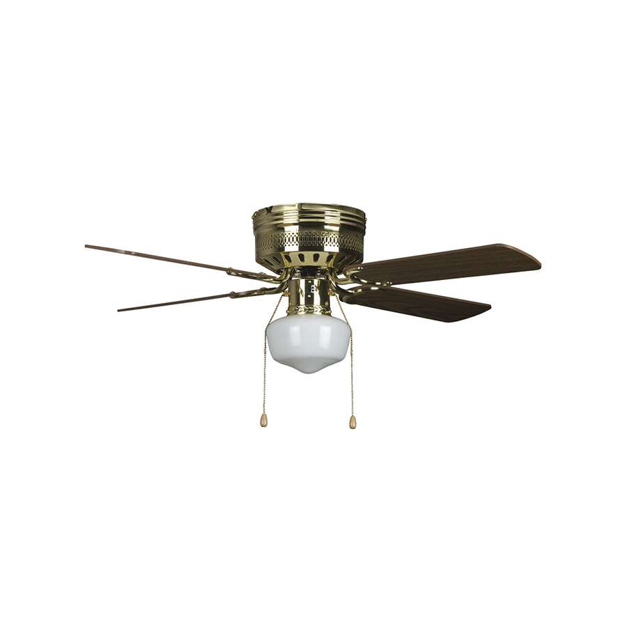 "42"" 4-Blade Hugger Fan with Schoolhouse Light Polished Brass"