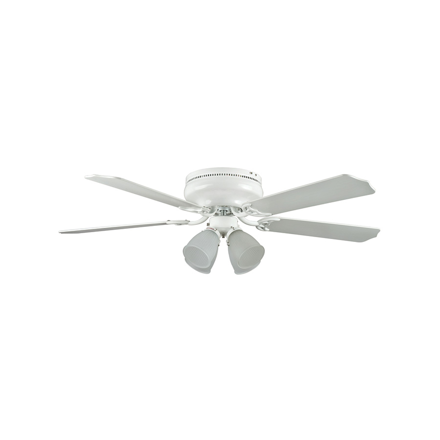 "52"" 5-Blade Hugger Fan with Light Kit White"