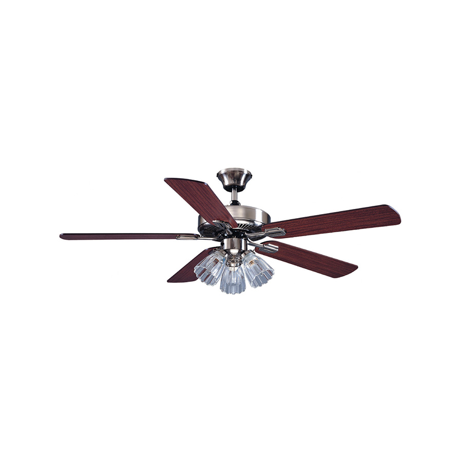 """52"""" 5-Blade Dual Mount Fan with Light Kit Stainless Steel"""