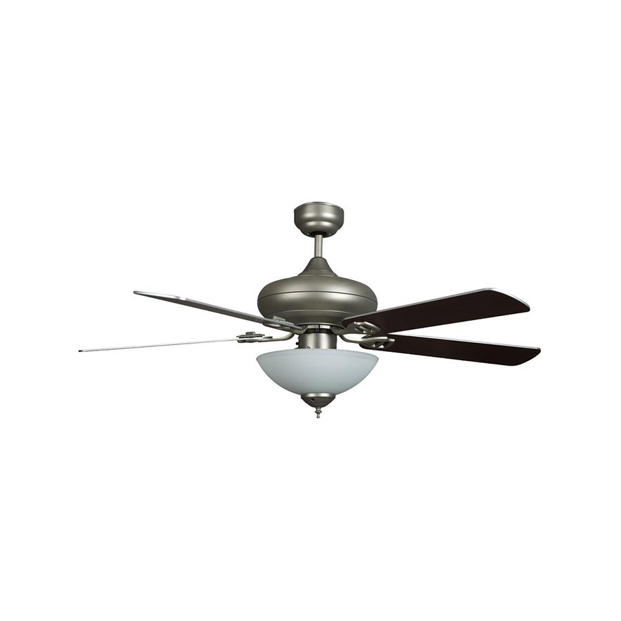"52"" 5-Blade Downrod Mount Fan with Light Kit Satin Nickel"