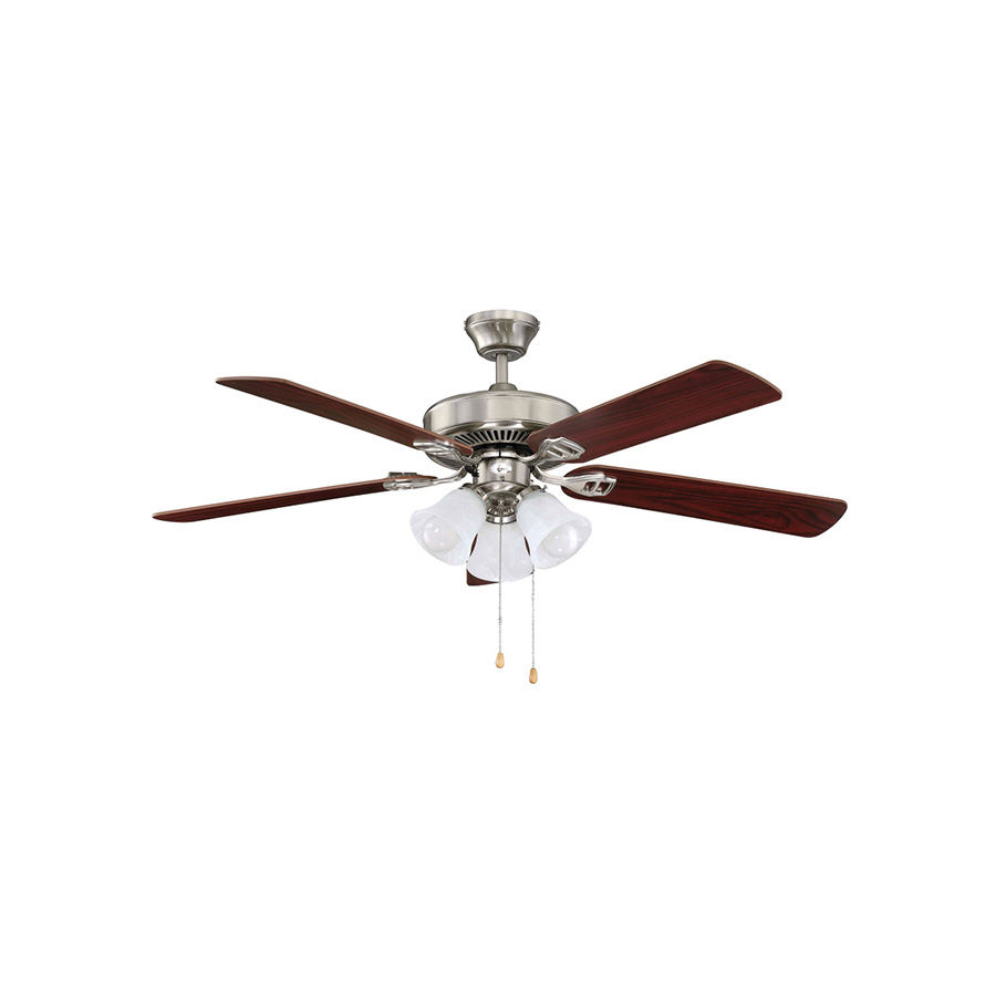 "52"" 5-Blade Dual Mount Fan with LED Light Stainless Steel"