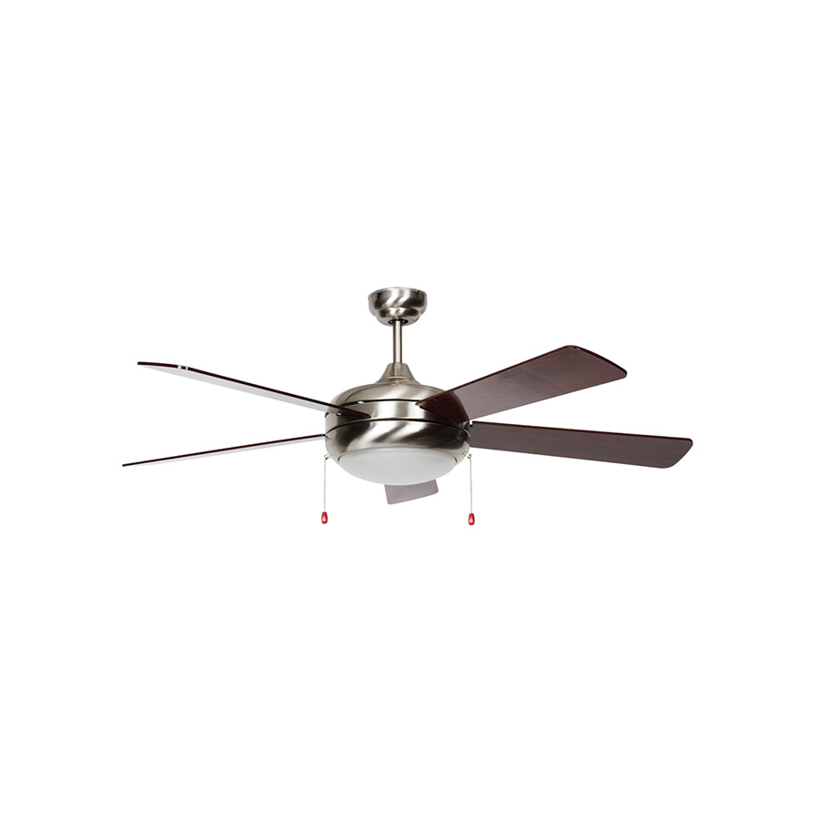 "52"" 5-Blade Downrod Mount Fan with LED Light Stainless Steel"