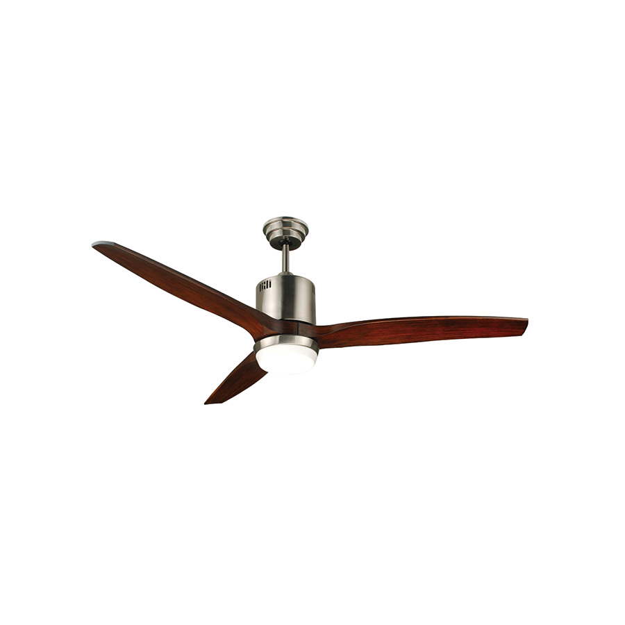 "52"" 3-Blade Downrod Mount Fan with LED Light Stainless Steel"