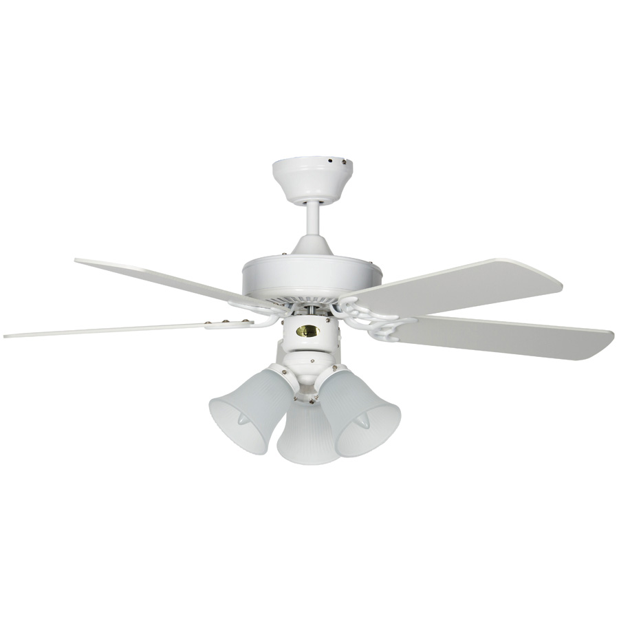 """42"""" 5-Blade Dual Mount Fan with LED Light Kit White"""