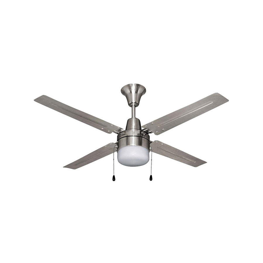 "48"" 4-Blade Ceiling Fan with Light Kit Brushed Chrome"
