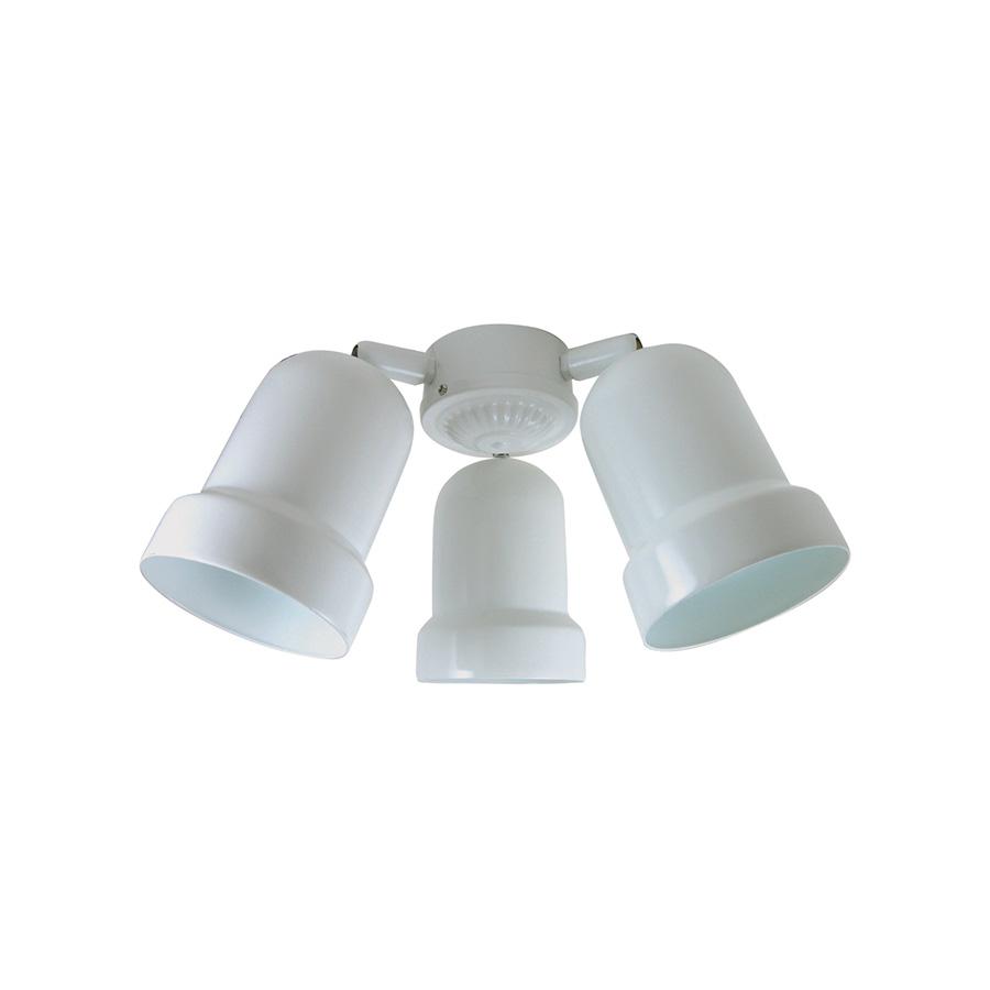 3-Arm Metal Bullet Fan Light Kit White