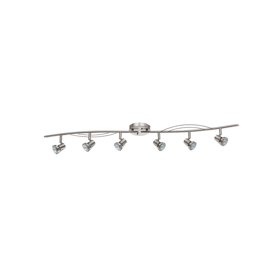 "Bright Satin Nickel Adjustable Track Light 44"" 6-Light"