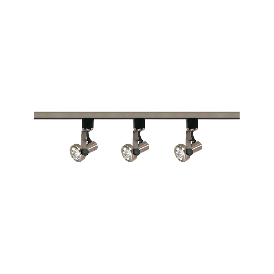 "Brushed Nickel Gimbal Ring Track Fixture 48"" 3-Light"