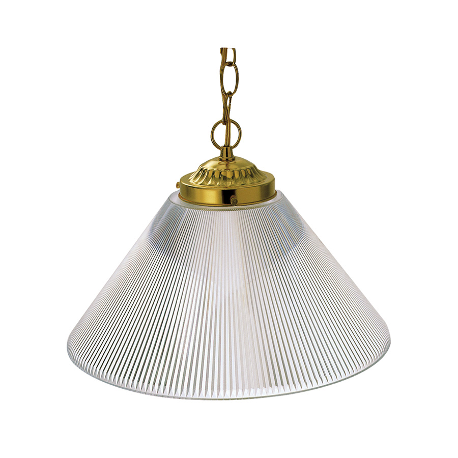 1-Light Ribbed Acrylic Pendant Fixture Polished Brass