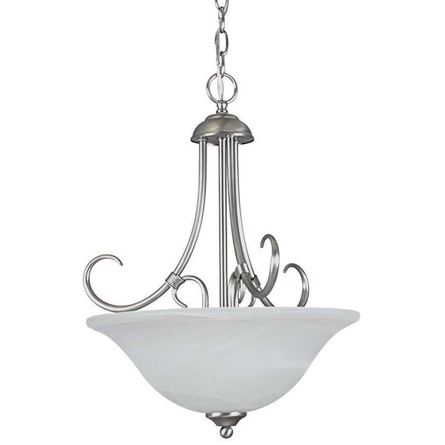 3-Light Madrid Bowl Pendant Fixture Satin Nickel