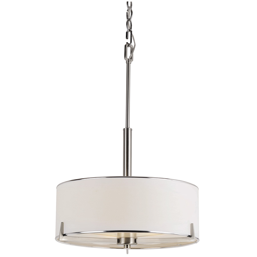 3-Light Pendant Fixture with Fabric Shade Brushed Nickel