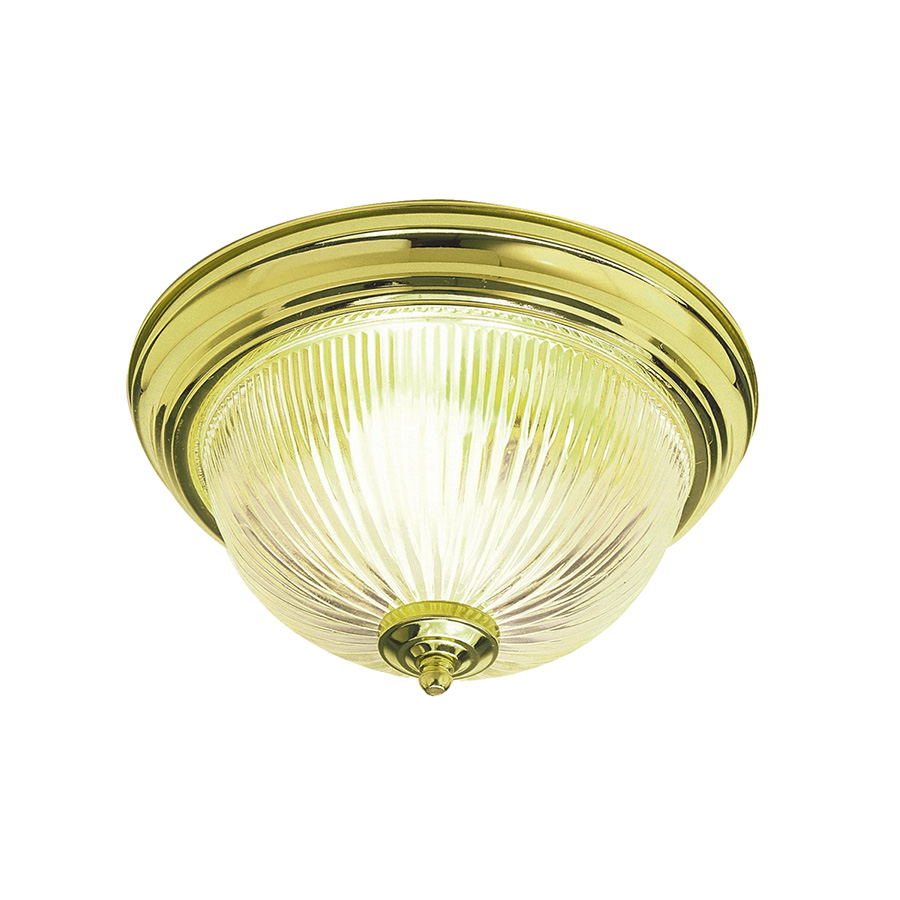 "13"" Ceiling Dome Fixture 2-Bulb Polished Brass"