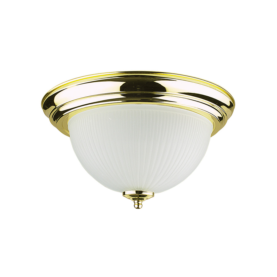 """14"""" Ribbed Glass Ceiling Dome Polished Brass"""