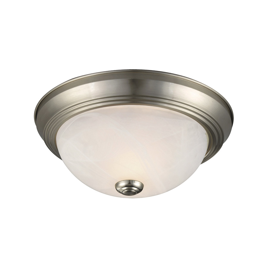 2-Light Interior Flush Mount Ceiling Fixture Satin Nickel