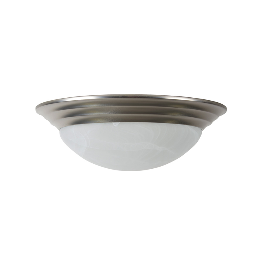 """14"""" Ceiling Dome Fixture 2-Bulb Satin Nickel"""