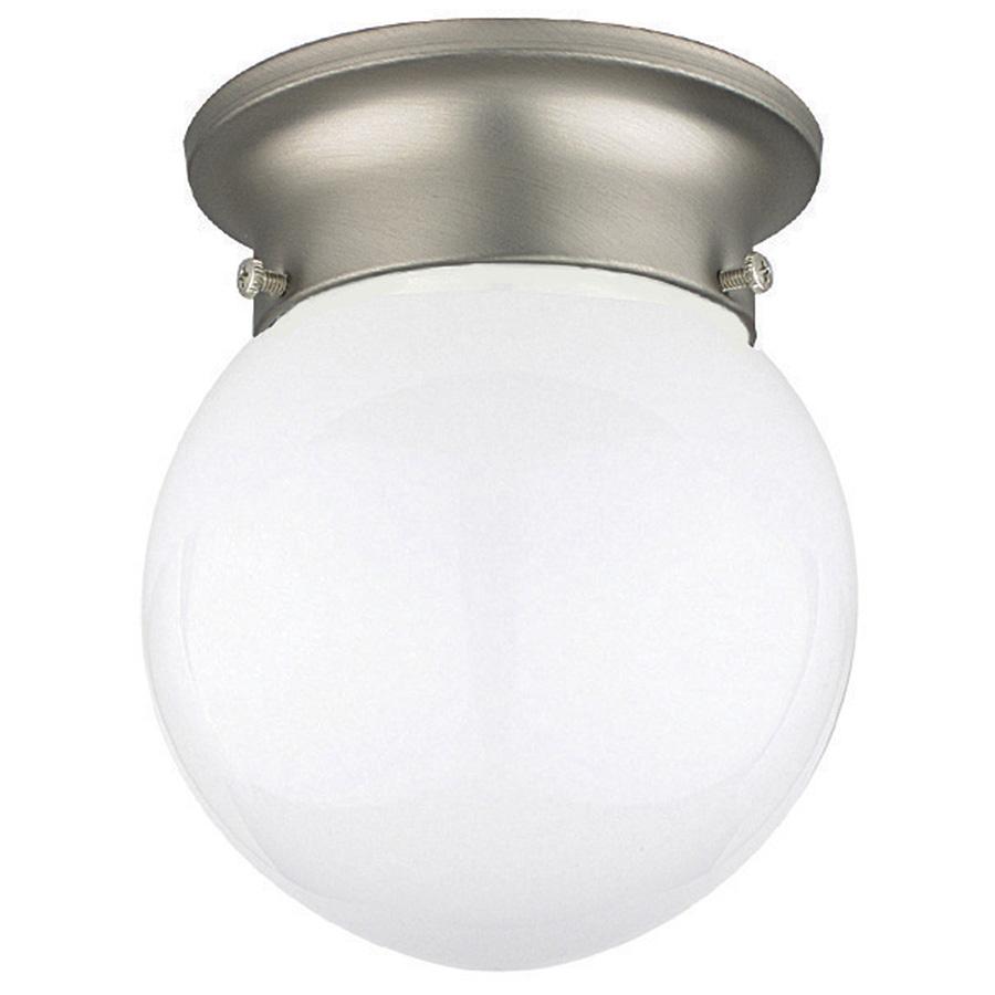"6"" Opal Glass Globe Ceiling Fixture Satin Nickel"