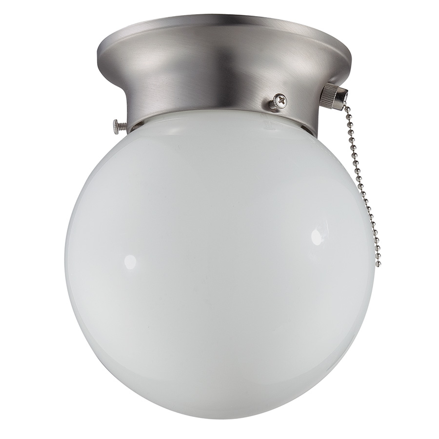 """6"""" Glass Globe Ceiling Fixture with Pull Chain Satin Nickel"""