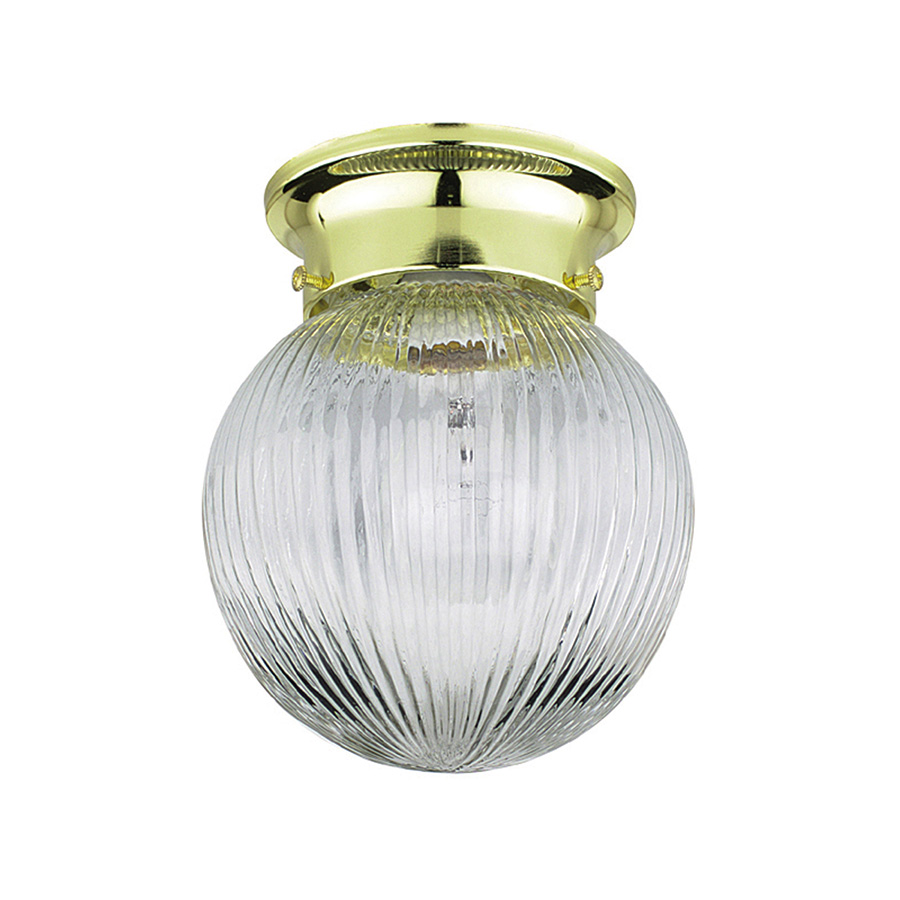 """6"""" Ribbed Glass Globe Ceiling Fixture Polished Brass"""
