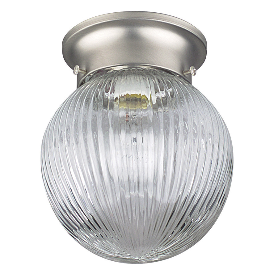 """6"""" Ribbed Glass Globe Ceiling Fixture Satin Nickel"""