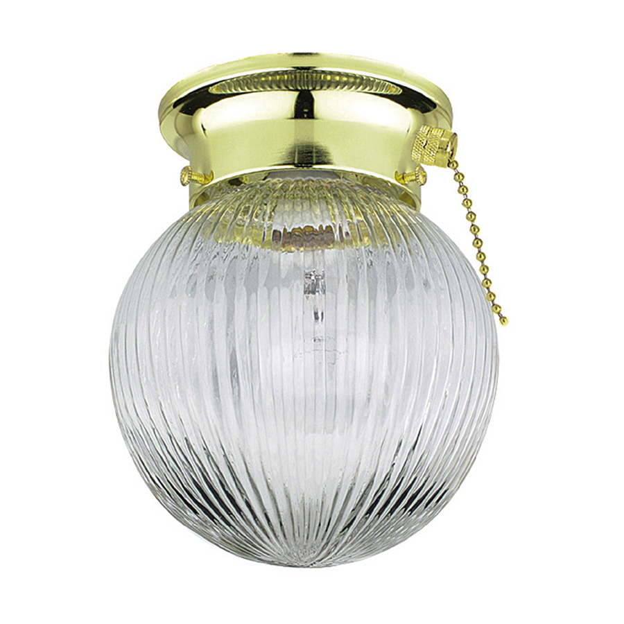"""6"""" Globe Ceiling Fixture with Pull Chain Polished Brass"""