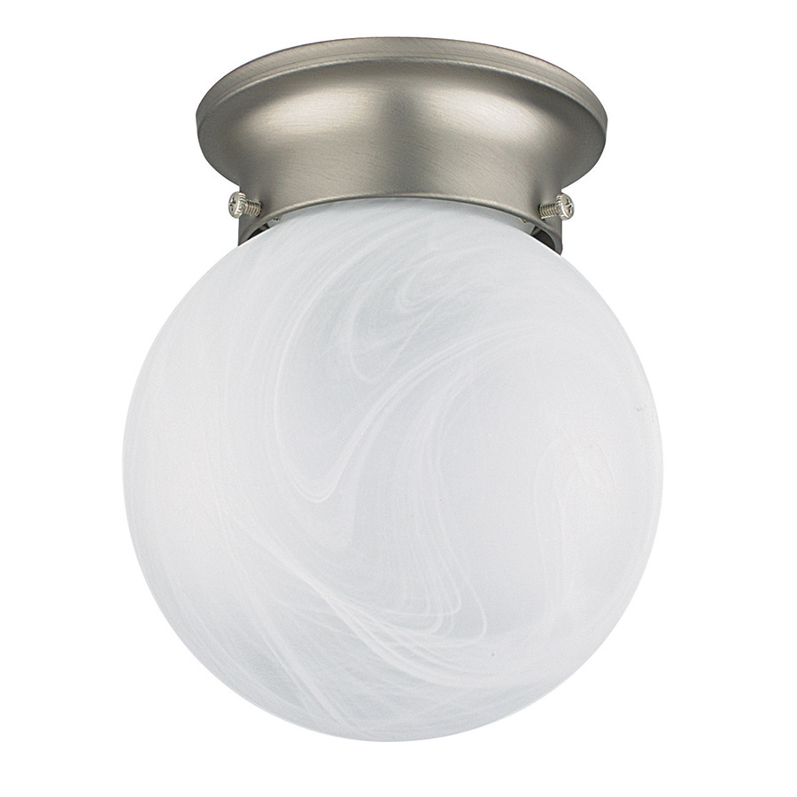 "6"" Alabaster Glass Globe Ceiling FixtureSatin Nickel"