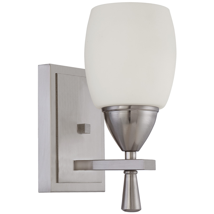 Bristol 1-Light Wall Fixture Bright Satin Nickel