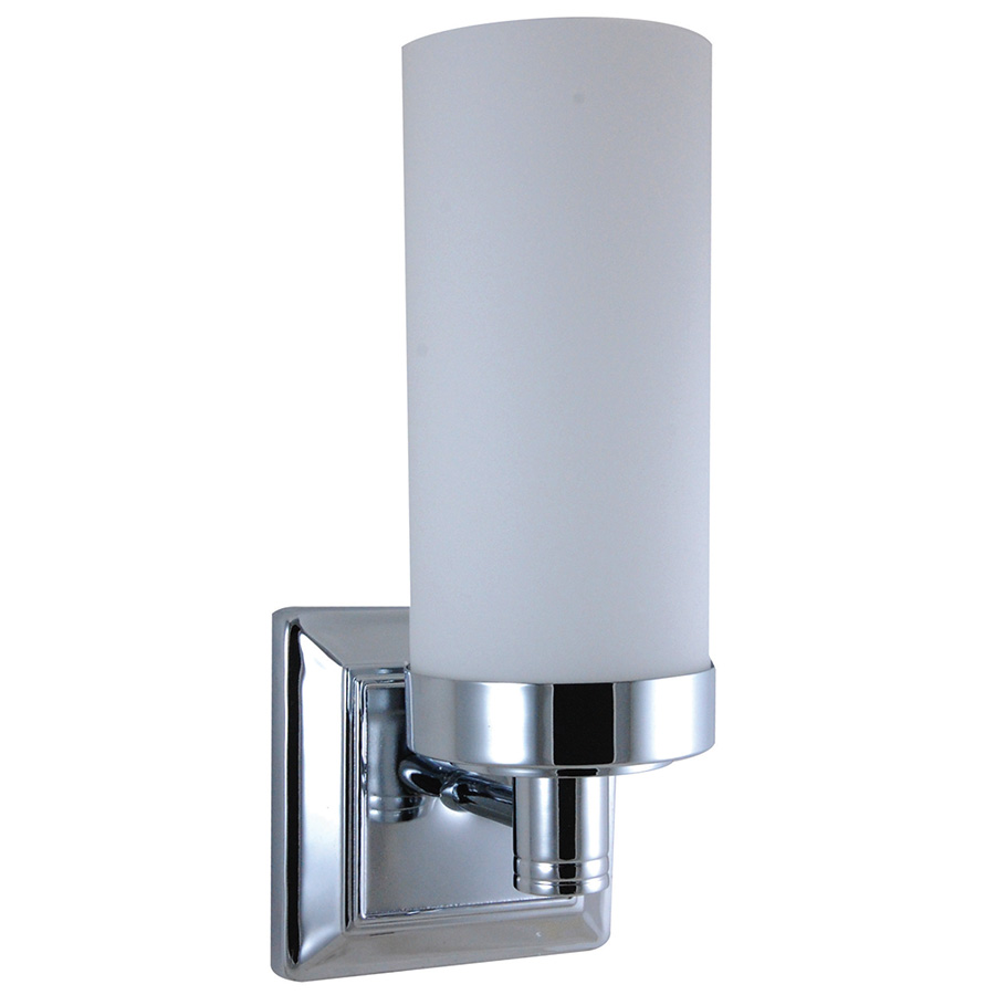 Chrome Wall Sconce with Opal Glass