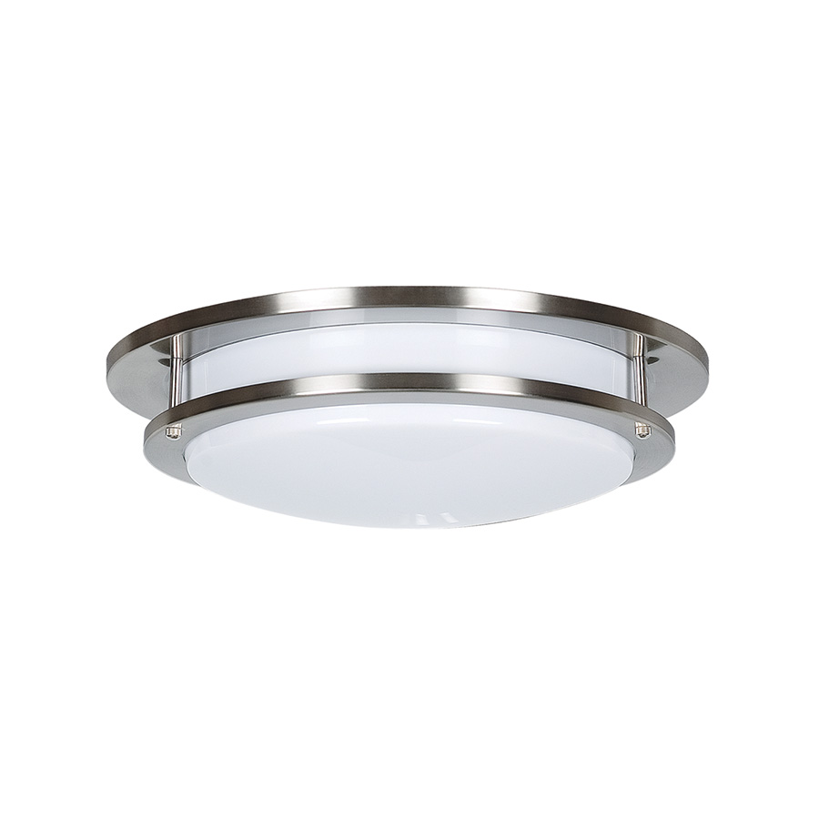 """16"""" Fluorescent Round Ceiling Fixture Bright Satin Nickel"""