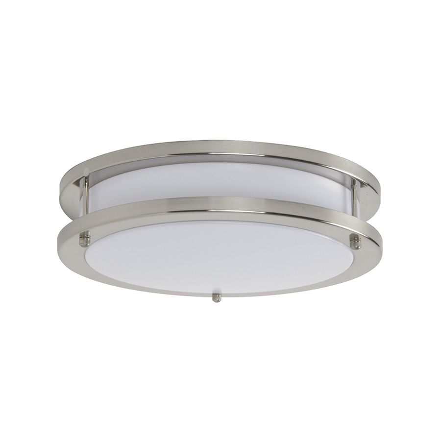 "14"" LED Round Ceiling Fixture Bright Satin Nickel"