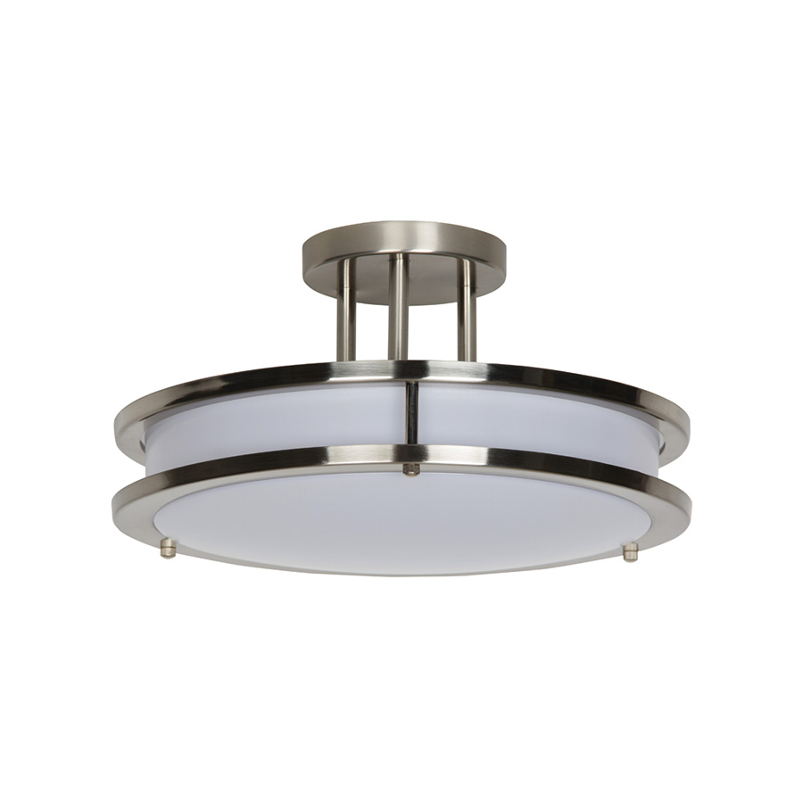 "14"" LED Round Semi-Flush Ceiling Fixture Bright Satin Nickel"