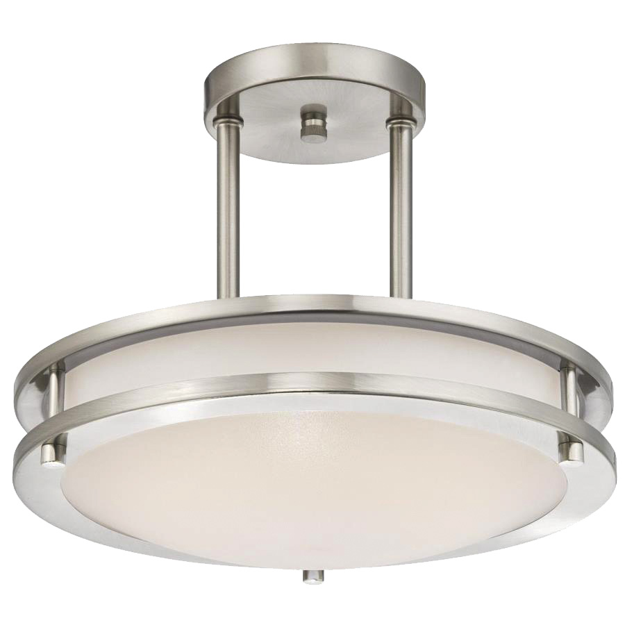 "14"" LED Semi-Flush Ceiling Fixture Bright Satin Nickel"