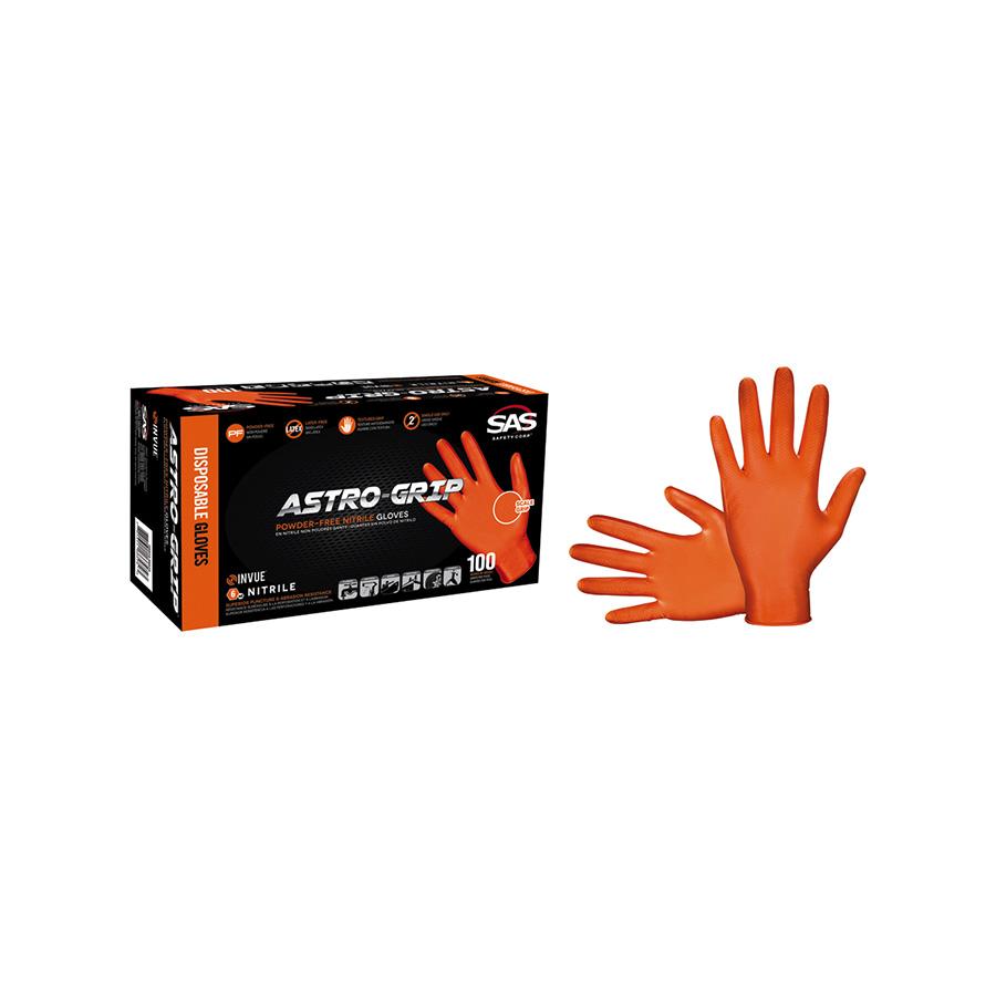 Astro-Grip Orange Disposable Nitrile Gloves, Large 100/Box, 66573