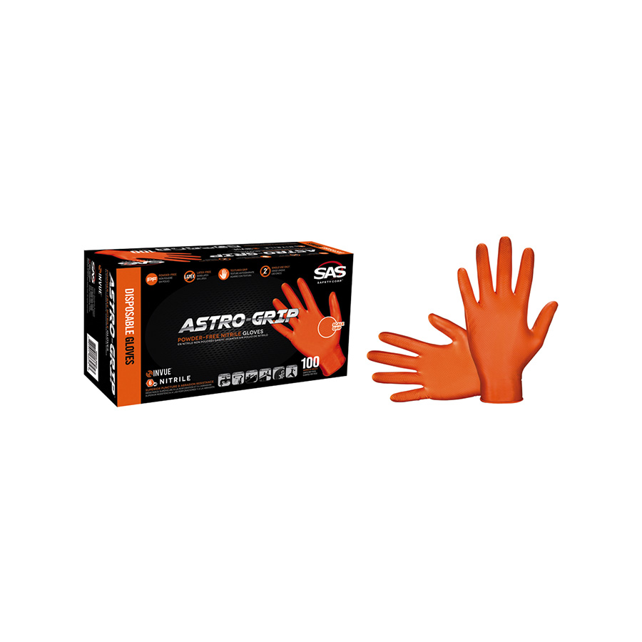 Astro-Grip Orange Disposable Nitrile Gloves, X-Large 100/Box, 66574