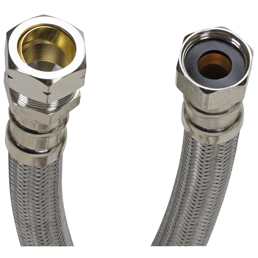 """24"""" Fluidmaster SS Water Heater Connector FIP x Compression"""