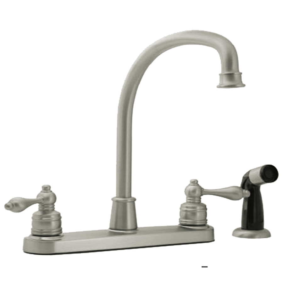 Banner Brushed Nickel High-Rise Kitchen Faucet with Spray