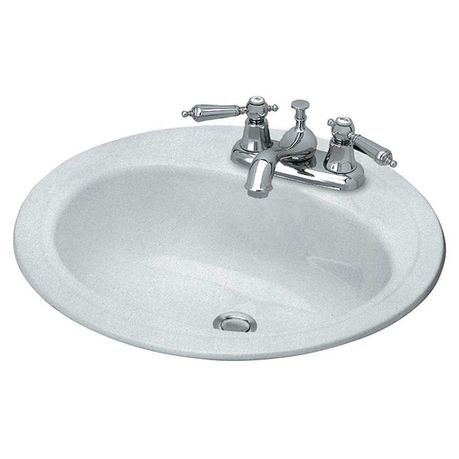"""19"""" Round Steel Lavatory Sink White"""