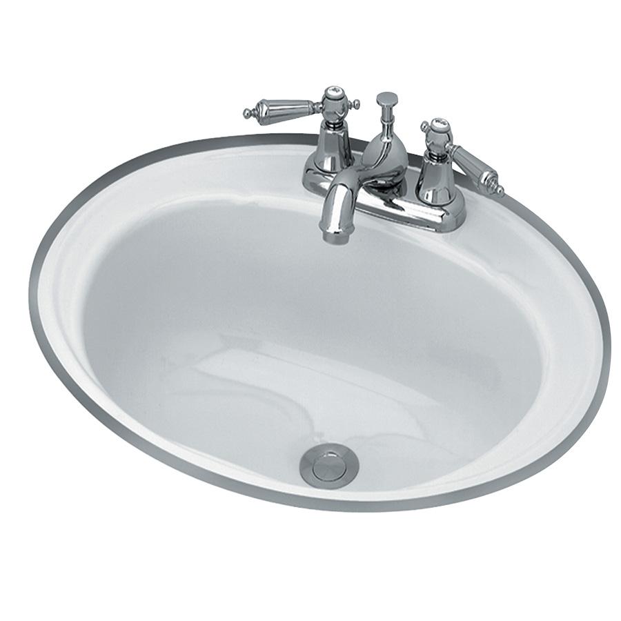 """18"""" Round Steel Lavatory Sink White"""