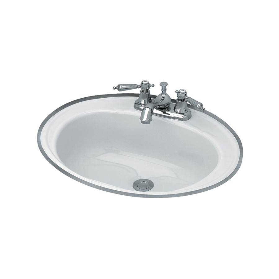 "16"" x 19"" Oval Steel Lavatory Sink White"