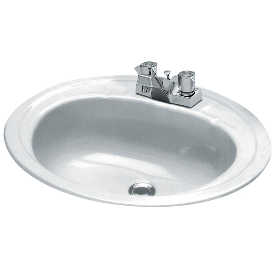 "17"" x 20"" Oval Steel Lavatory Sink White"