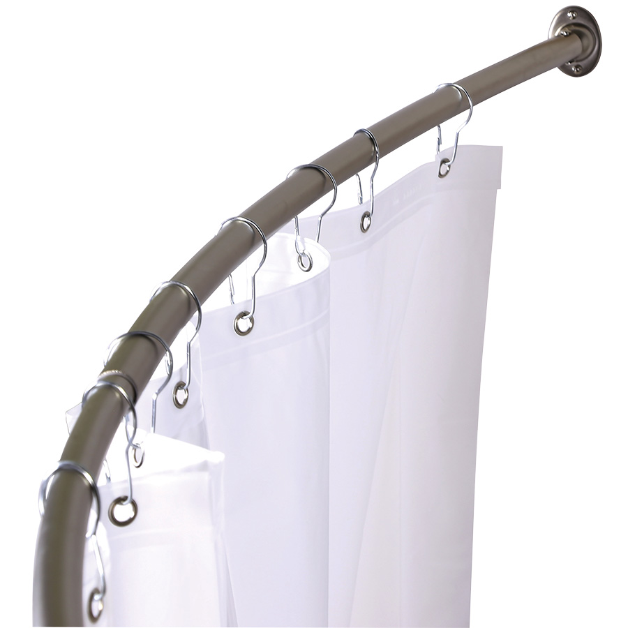 Brushed Nickel Adjustable Curved Shower Rod