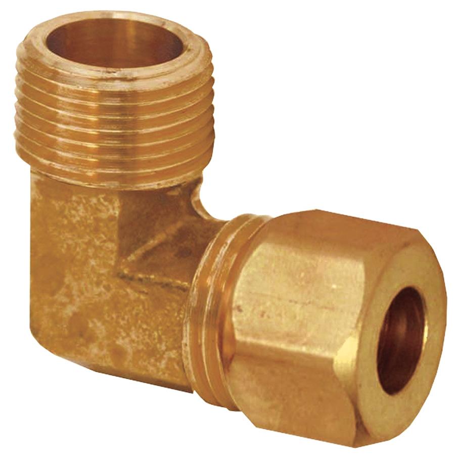 "Brass Male Elbow 3/8"" MIP x 3/8"" Compression"